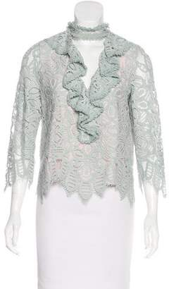 Alexis Guipure Lace Ruffled Blouse