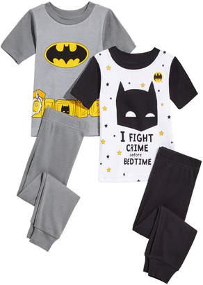 AME Dc Comics Little & Big Boys 4-Pc. Batman Cotton Pajama Set