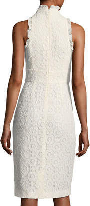 Shoshanna Giana Lace Applique Keyhole Ruffle Dress