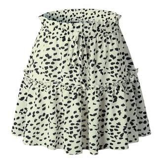 FANOUD Women Casual Retro Short Skirt Imperial Waist Above Knee Mini Dress