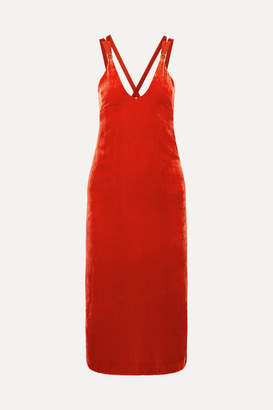 Dion Lee Grosgrain-trimmed Velvet Midi Dress