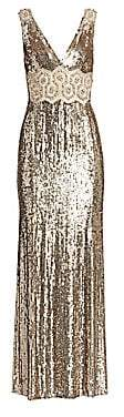 Jenny Packham Women's Loretta Beaded Lace Applique Gown