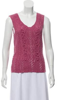 Oscar de la Renta Sleeveless Cable Knit Sweater w/ Tags Pink Sleeveless Cable Knit Sweater w/ Tags