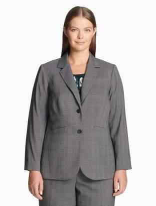 Calvin Klein plus size plaid notch lapel 2-button jacket
