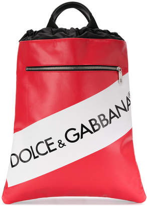 Dolce & Gabbana logo tape drawstring backpack