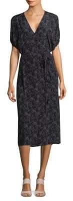 Vince Printed Silk Kimono Wrap Dress