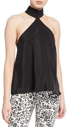 Amanda Uprichard Queens High-Neck Sleeveless Silk Top