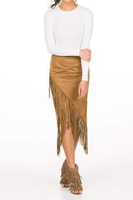 Olivaceous Fringe Midi Skirt