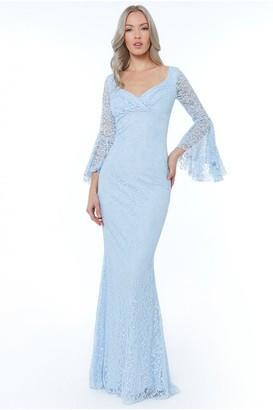 Goddiva Powderblue Frill Sleeve Maxi Dress