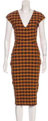 Victoria Beckham Sleeveless Midi Dress Orange Sleeveless Midi Dress