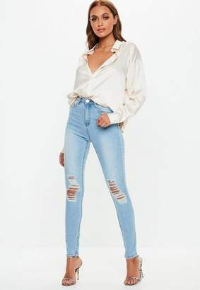 Missguided Light Blue Distressed Knee High Waisted Skinny Jeans