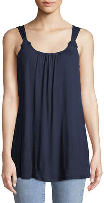 Neiman Marcus Knotted Drapey Jersey Tank