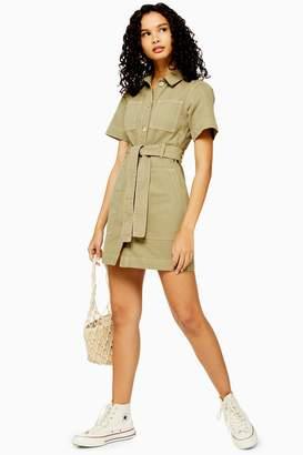 Topshop Womens Khaki Short Sleeve Denim Dress - Khaki