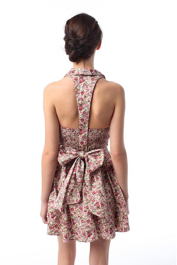 Kimchi Blue Floral Notch Lapel Halter Dress