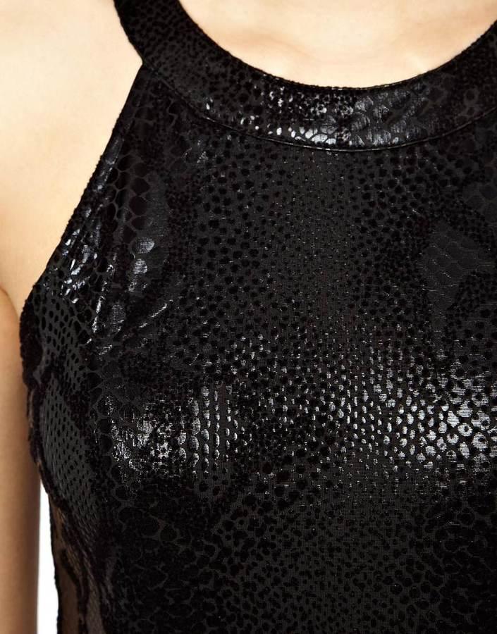 MinkPink Mini Dress In Flocked Black Python Print