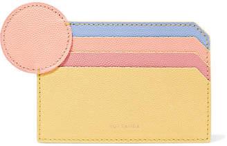 Roksanda Color-block Textured-leather Cardholder - Pastel yellow