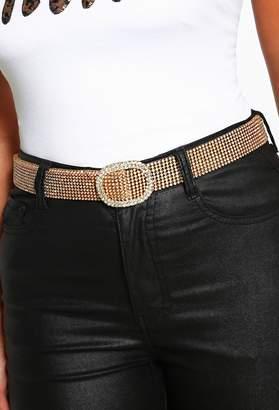 Pink Boutique Glow Up Girl Gold Diamante Belt