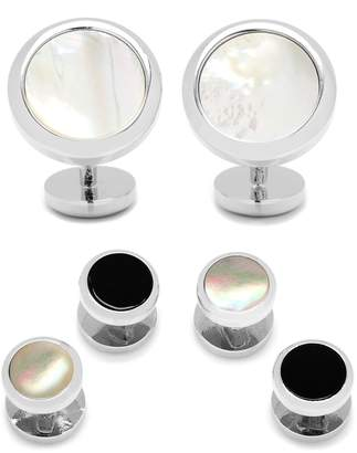 Mother of Pearl Ox and Bull Trading Co. Mother-of-Pearl Cuff Links & Shirt Stud Set