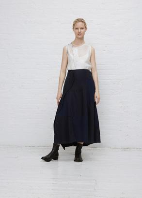 Yohji Yamamoto indigo drape patched skirt $1,370 thestylecure.com