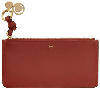 Chloé Red Flat Alphabet Zipped Wallet