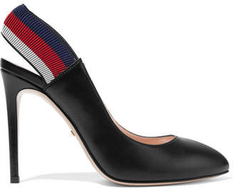 Gucci Sylvie Leather Slingback Pumps - Black