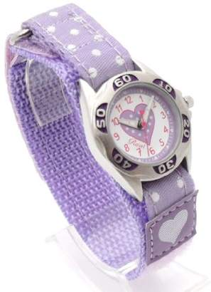 Ravel Girl's Lilac Polka Dot Patterned Easy Fasten Strap Watch