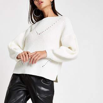 River Island Cream luxe puff sleeve knit jumper
