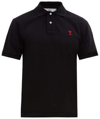 Ami Logo Applique Cotton Polo Shirt - Mens - Black