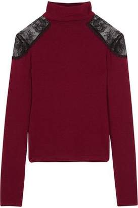 Alice + Olivia Alice+olivia Krystalle Lace-Paneled Stretch-Knit Turtleneck Sweater