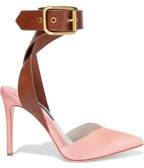 Alice + Olivia Rachelle Leather-Trimmed Satin Pumps