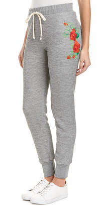 Wildfox Couture Rose Embroidered Jogger Pant