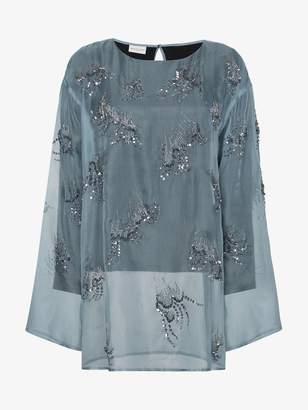 Dries Van Noten Sequin embellished silk organza top