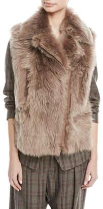 Brunello Cucinelli Zip-Front Shearling Fur Moto Vest