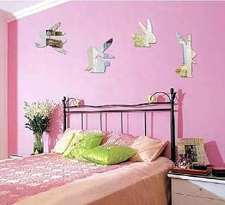 Heying Lovely Peter Rabbit Creative Acrylic Mirror Wall Sticker, Smart Bunny Mirror Murals &Decals For Sitting Room Bedroom Kids Nursery Room Rall Decoration Kids Gift