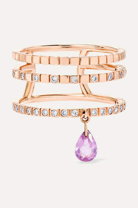 Diane Kordas Triple 18-karat Rose Gold, Sapphire And Diamond Ring