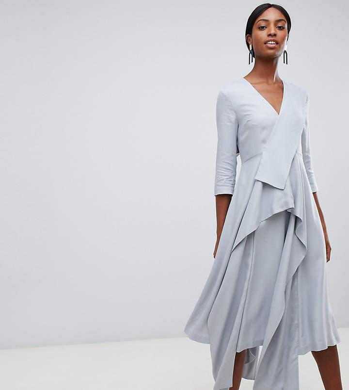 Tall drape panel midi dress