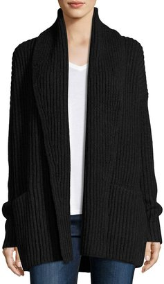 Vince Shawl-Collar Open-Front Cardigan, Charcoal $369 thestylecure.com