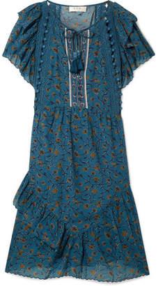 Sea Kaylee Crochet-trimmed Printed Cotton-blend Voile Dress - Petrol