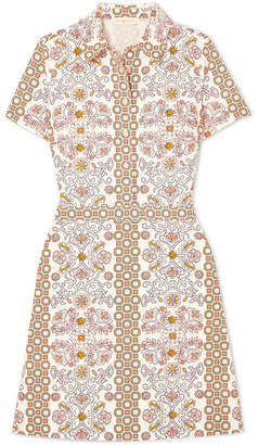 Tory Burch Port Printed Cotton-poplin Dress - Ivory