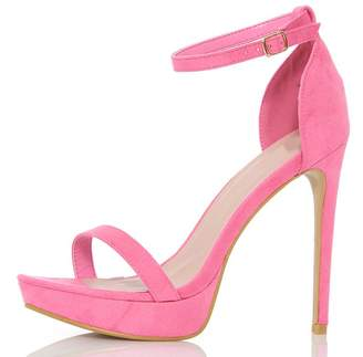 Quiz Pink Faux Suede Platform Sandals