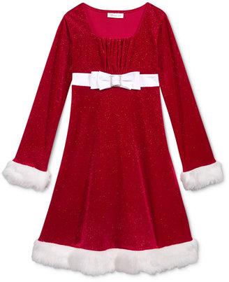 Bonnie Jean Holiday Dress with Faux-Fur Trim, Big Girls (7-16) $58 thestylecure.com
