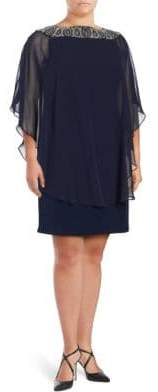 Xscape Evenings Plus Plus Beaded Chiffon Capelet Shift Dress