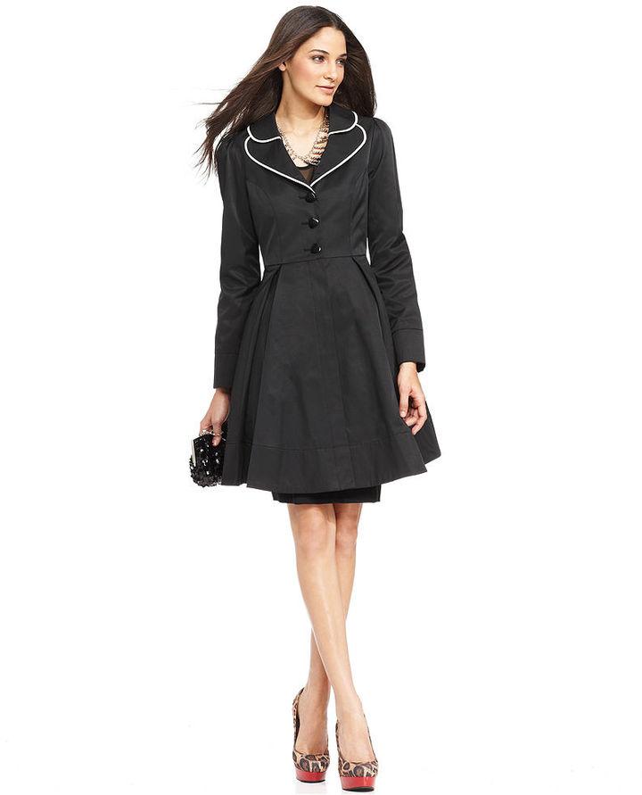 Betsey Johnson Coat, Piped Bow Flared Raincoat