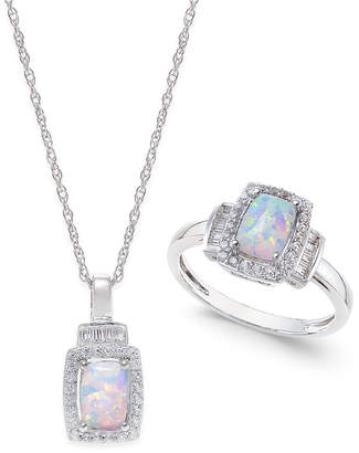 Macy's Lab-Created Opal (5/8 ct. t.w.) and White Sapphire (5/8 ct. t.w.) Pendant Necklace and Matching Ring Set in Sterling Silver