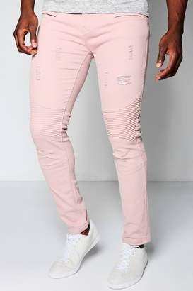 boohoo Super Skinny Stretch Biker Jeans