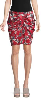 Isabel Marant Tilena Paisley Ruched Mini Skirt