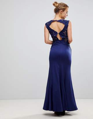 Little Mistress A Line Bridesmaid Maxi Dress With Lace Inserts