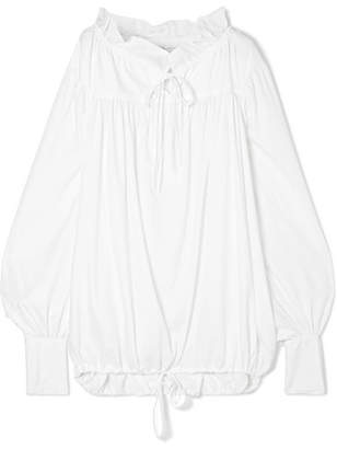 Marques Almeida Marques' Almeida - Oversized Gathered Crepe De Chine Shirt - White