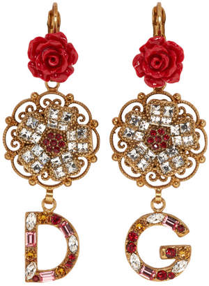 Dolce & Gabbana Gold Flower Crystal Earrings