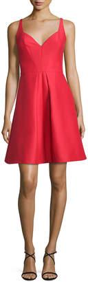 Halston Sleeveless Pleated Structured Faille Cocktail Dress